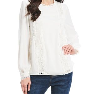 Gibson Latimer  Romantic Lace Bishop Sleeve Blouse